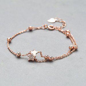 New 925 Sterling Silver Rose Gold Star Bracelet